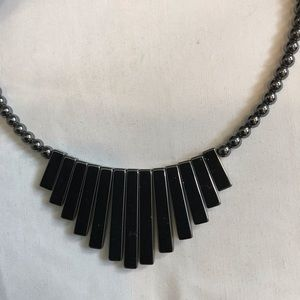 Jewelry - Black hematite bead necklace with 13 hematite bars